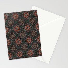 Folk Flower, Vintage Bohemian Floral Pattern Burnt Sienna Stationery Cards