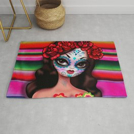Dia De Los Muertos Girl on Sarape Rug