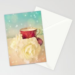 Red Teacup with White Roses Stationery Cards
