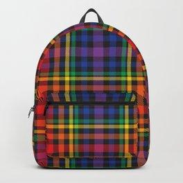 Rainbow Plaid Tartan Textured Pattern Backpack