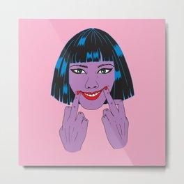 Smile, Girl - Pink Metal Print