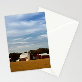 Red Barn in Golden Field Rural Landscape Photograph Stationery Cards