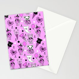 Pastel Goth Teddy Bear Circus Harlequin Skull Carnival Pink Halloween Stationery Cards