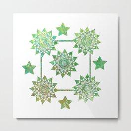 Green Mandalas Metal Print