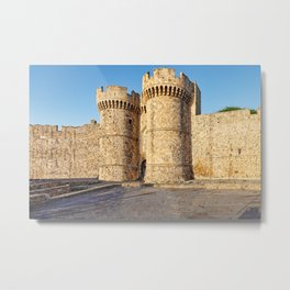 An entrance in the medieval castle in the old city of Rhodes, Greece Metal Print
