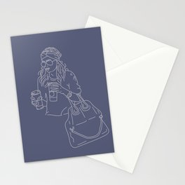 Starbucks Double-Fisting, Periwinkle  Stationery Cards