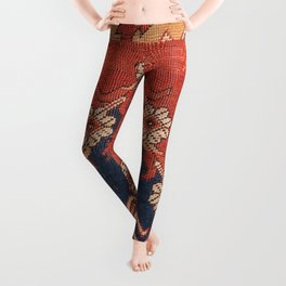 Southwest Tuscan Shapes III // 18th Century Aged Dark Blue Redish Yellow Colorful Ornate Rug Pattern Leggings