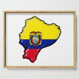 Ecuador Map with Ecuadorian Flag Serving Tray