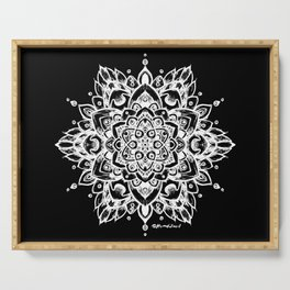 Grunge Feathered Mandala A - White Serving Tray