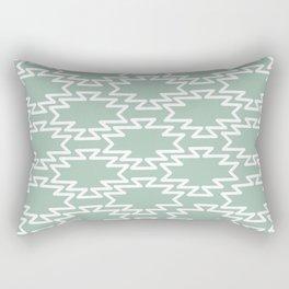 Southwest Azteca Geo Pattern in White and Light Spring Rain Celadon Green Rectangular Pillow