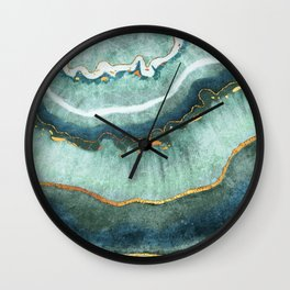 Gold Turquoise Agate Wall Clock