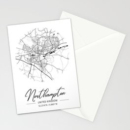 Northampton Area City Map, Northampton Circle City Maps Print, Northampton Black Water City Maps Stationery Cards