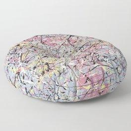 Crescendo - Jackson Pollock style abstract drip canvas art by Rasko Floor Pillow