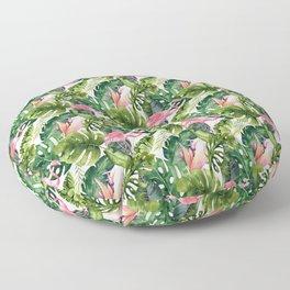 Summer tropical leaf watercolor pink flamingo greenery  Floor Pillow