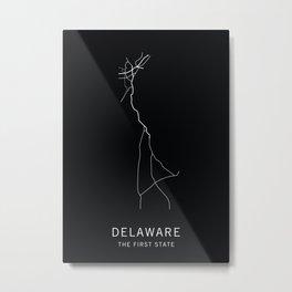 Delaware State Road Map Metal Print