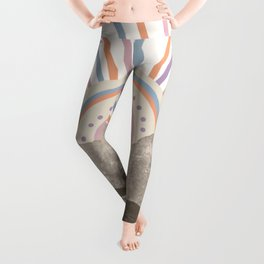 Bohemian Tribal Sun / Abstract Vintage Mountain Happy Summer Vibes Retro Colorful Pastel Sky Artwork Leggings