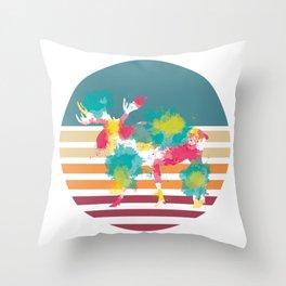 Splash Color Moose Throw Pillow