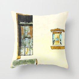 Wall with door and newsstand votive of Tortora Throw Pillow