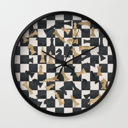 Chess Figures Pattern -Leather and gold Wall Clock