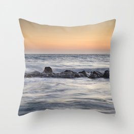 Silver sea at sunset Throw Pillow