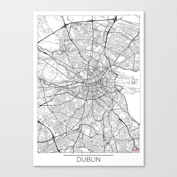 Dublin Map White Leinwanddruck