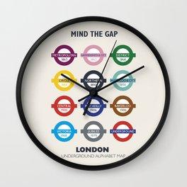 London underground poster, metro alphabet map, subway sign, the tube art Wall Clock