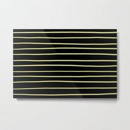 VA Lime Green - Lime Mousse - Bright Cactus Green - Celery Hand Drawn Horizontal Lines on Black Metal Print