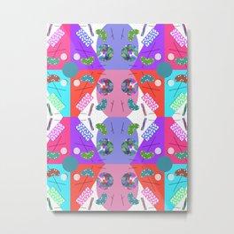 Chequered Rainbow Kaleidoscope Memphis Design Metal Print