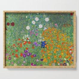 Gustav Klimt Flower Garden Floral Art Nouveau Serving Tray