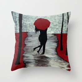 Red Autumn Rain Romance Throw Pillow