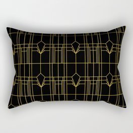 Parisienne Elegant Gold and Black Art Deco Pattern Rectangular Pillow