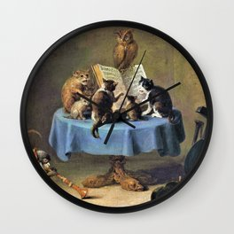 Cat Concert - David Teniers the Younger Wall Clock
