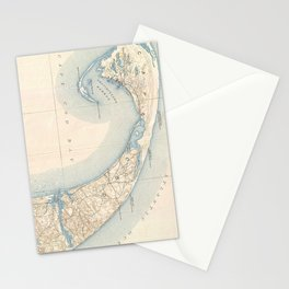 Vintage Map of Lower Cape Cod Stationery Cards