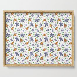 Columbine on White Serving Tray