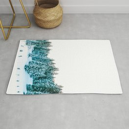 Snowy Winter Forest, Green Rug