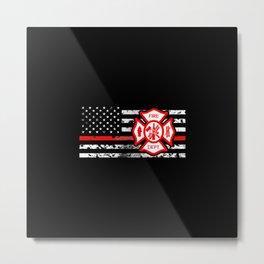 Firefighter Flag & Florian Cross Metal Print