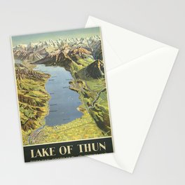 Vintage poster - Lake of Thun Stationery Cards