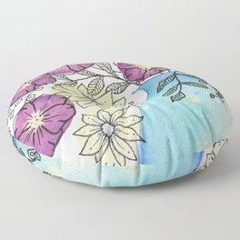 Abstract Metallic Bouquet 0f Flowers Floor Pillow