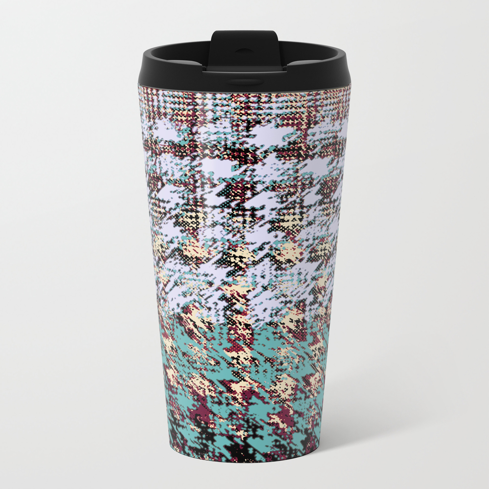 Textured Houndstooth In Gray And Teal Metal Travel Mug by Mpzstudio MTM7829215