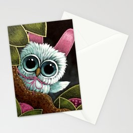SPRING TINY OWL WITH BUNNY RABBIT EARS - HAPPY EASTER Stationery Cards