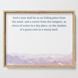 Isaiah 32:2, Bible Verse Quote, Aesthetic Purple & Blue, Mountains Scene Gift Serving Tray