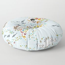 Cartoon animal world map for children and kids, Animals from all over the world, back to school Floor Pillow
