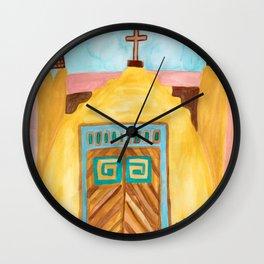 San Jose de Gracia Church Watercolor Wall Clock