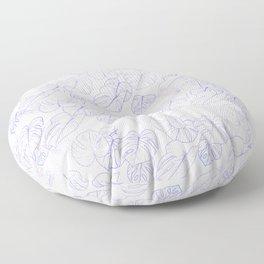 Monstera (White Glow) - Lavender Floor Pillow