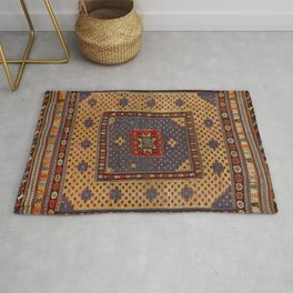 Kurdish Safreh 19th Century Authentic Colorful Dark Tan Yellow Blue Vintage Patterns Rug