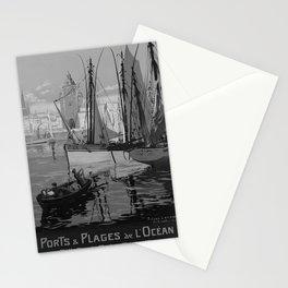 retro b/w ETAT Ports Plages Ocean travel poster Stationery Cards