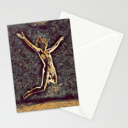 1294s-ZAC Dancer in Midair Leap Rendered in the Style of Antonio Bravo Stationery Cards