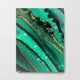 Malachite inspired alcohol ink painting with flecks of gold and hints of black and emerald green Metal Print