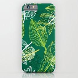 Lovely green leaves pattern illustration iPhone Case