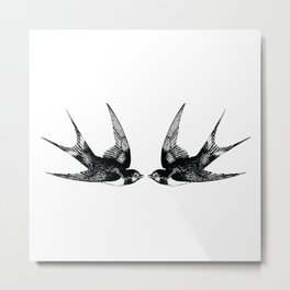 Double Swallow Illustration Metal Print